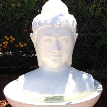 FIA008 White Terrazzo Buddha Head