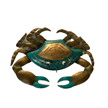 A turquoise and bronze crab